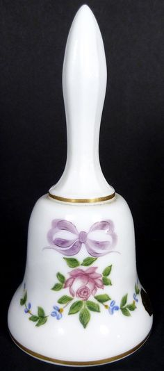 """Westmoreland Milk Glass w HP Roses Bows Forget Me Nots Decoration 5""""T Bell 