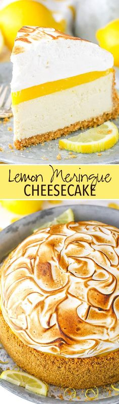A graham cracker crust, creamy cheesecake, tart lemon topping and toasted meringue! A graham cracker crust, creamy cheesecake, tart lemon topping and toasted meringue! Lemon Merengue Pie, Lemon Meringue Cheesecake, Homemade Cheesecake, Easy Cheesecake Recipes, Dessert Recipes, Lemon Curd, Meringue Food, Lemon Desserts, Lemon Recipes