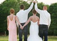 Fun wedding photo idea - maid of honor, best man, bride + groom photo {Brittany Bailey Photography}