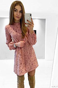 Koronkowa sukienka w kolorze brudnego różu z bufiastym rękawem.  Idealna na komunie i inne imprezy okolicznościowe Beautiful Long Sleeve Lace Dress. Sweaters, Pink, Beautiful, Dresses, Fashion, Vestidos, Moda, Fashion Styles, Sweater