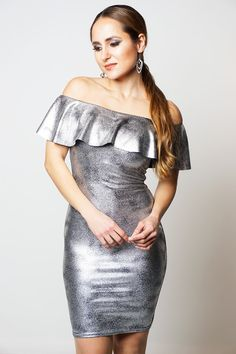 c39e4867169dd Danielle Armstrong Celebrity Inspired Silver Metallic Foil Frill Overlay  Dress Perfect party wear Danielle Armstrong celebrity inspired Bardot style  dress ...