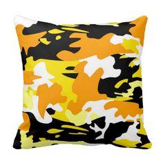 Orange Camo Throw Pillow Throw Pillows