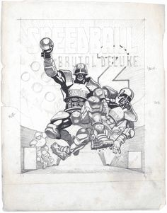 Z character concept, Speedball 2: Brutal Deluxe cover concept and Bike/Havoc/Triple X character concept — Dan Malone — © The Bitmap Brothers/Read-Only Memory/Dan Malone