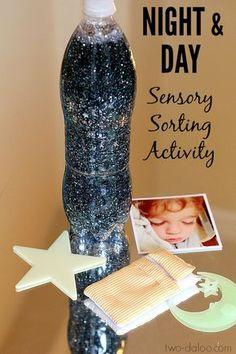 Night Sky Activities for Preschool: Night and Day Sensory Sorting - Twodaloo