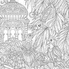 Jardin Celeste, an hardcover set of two colorig poster cm each that can be juxtaposed on both sides to form a wider, continuous exotic landscape.Published by Rustica Editions (Fleurus group, Paris, France) in Free Adult Coloring Pages, Coloring Pages To Print, Printable Coloring Pages, Colouring Pages, Coloring Books, Common Birds, Art Journal Prompts, Drawing Quotes, Art Drawings