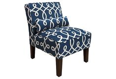 Bergman Armless Chair, Navy/White on OneKingsLane.com