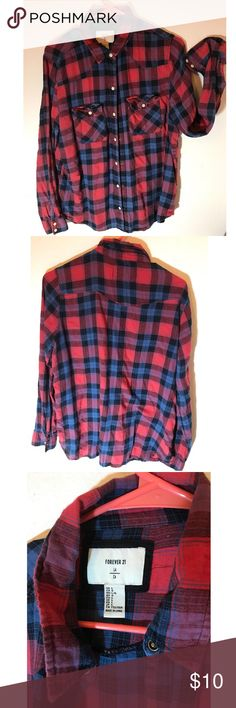 Plaid Button-Up Shirt By Forever 21 Coming soon Forever 21 Tops Button Down Shirts