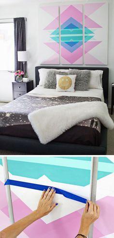 DIY Wall Art | 22 Small Bedroom Decorating Ideas on a Budget | Easy DIY Bedroom Decor Ideas | Click for Tutorials
