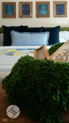 Chartreuse, Blue and Moss Green Master Bedroom in Maine Stream Synergy 2 Show Room for Hopewell Residential.By Wise Home + Design