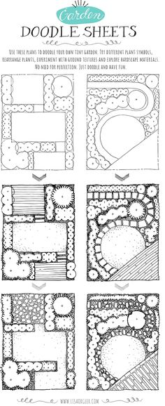 13 Garden Doodle Sheets Draw Your Own Garden! - Garden Doodle Sheets generously provided by Lisa Orgler - informative & fun!Draw Your Own Garden! - Garden Doodle Sheets generously provided by Lisa Orgler - informative & fun! Landscape Design Plans, Garden Design Plans, Small Garden Design, Landscape Architecture, Small Garden Layout, Small Garden Plans, Architecture Design, Drawing Architecture, House Landscape