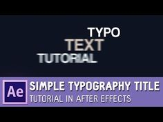 Simple Typography Title Tutorial in After Effects ✔ - YouTube