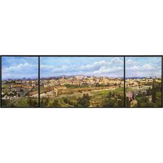 Original Mixed Media on Canvas Size:Sides 55cm x 75cm/21.7 x 26.5 , Center 125cm x 75cm/49.2 x 26.5 Spread across three canvases, this stunning panoramic view of Jerusalem and the Old City woul