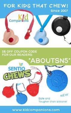 Chewed-up clothes, toys, furniture, etc...WHAT can a parent do? SentioLife Solutions has 2 durable #chewNecklaces that help kids who MUST chew, bite, #fidget.  KidCompanions Chewelry (2007) & NEW Tougher-than-Silicone #SentioCHEWS (2013). They are great for aggressive chewers. They are both made with FDA approved materials, CE marked and we mail orders to all corners of the world.  www.kidcompanions.com #sensory #chewing #autism