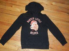 Girls JUSTICE Sweatshirt 8 SANTA'S LITTLE HELPER Black Glitter Hoodie Hamster   eBay
