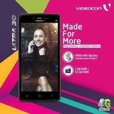 Introducing #Videocon Ultra 30, with the mega battery of 4000mAh. Now enjoy longer battery life for longer talk-time. Explore more: http://www.videoconmobiles.com/ultra-30-v50nl