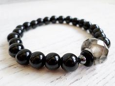 Mens beads bracelet gemstone onyx bead stretch by EmilDesign Handmade Market, Handmade Gifts, Stretch Bracelets, Beaded Bracelets, Craft Sale, Jewlery, Gemstones, Beads, Trending Outfits