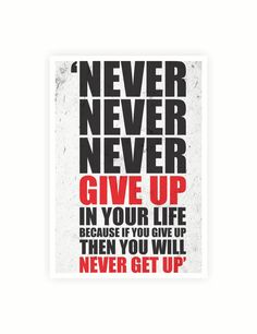 """Never never never give up in your life because if you give up then you will never get up.""  Most of the humans on this planet give up on the goals they strive to achieve. They quit cause there intentions weren't strong enough or they didn't have the heart to accomplish the goals. So if you giv..."