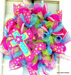 Super cute!!! Cross Wreath Spring Wreath Summer Wreath by BamaBelleWreaths