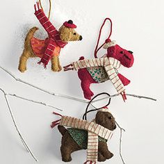 Dog Felt Holiday Ornaments, Set of 3 - Paw-fect for dog lovers