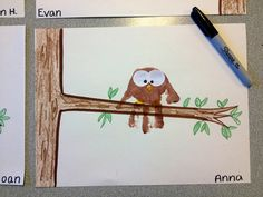 Did this at church tonight and it was a hit!  Didn't have paint so traced out their hands with brown marker and then they colored it in with a crayon!  Kid fall craft ideas! Cute owl craft{these would be really cute in the kids playroom}