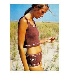 Vintage Boy Short Bikini Hip Hugger #1970s Knitting Pattern Tankini PDF. 4.50, via Etsy.