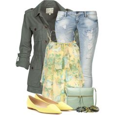 """""""Yellows & Greens"""" by kswirsding on Polyvore"""