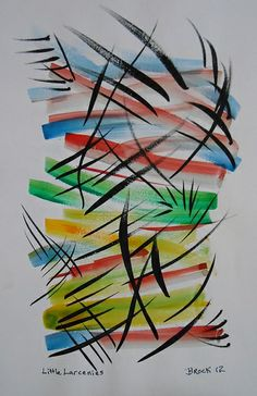 """""""Little Larcenies"""" - watercolor on paper, in abstracts 2012"""