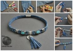 Collar Jeans - step by step Photo tutorial - Bildanleitung Recycled Jewelry, Old Jewelry, Jewelry Crafts, Jewelry Bracelets, Bangles, Jewellery, Necklace Tutorial, Diy Necklace, Denim Crafts