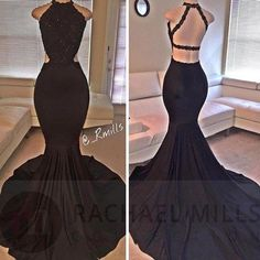 Black Prom Dresses,Mermaid Prom Dress,Lace Prom Dress,Backless Evening Gowns on Luulla