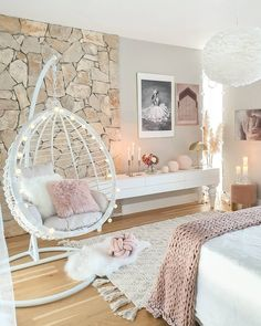 Love the design in this bedroom (especially the stone)! Lots of decor inspo her Love the design in this bedroom (especially the stone)! Lots of decor inspo here for all of you! Teen Bedroom Designs, Bedroom Decor For Teen Girls, Cute Bedroom Ideas, Cute Room Decor, Room Ideas Bedroom, Home Decor Bedroom, Master Bedroom, Bedroom Styles, Bedroom Ideas For Teens
