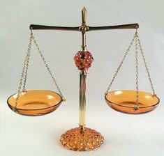 ** Vintage Brass & Amber Scales of Justice by Princess House