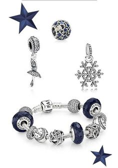 Tendance Bracelets Love the new Pandora blue line just not a fan of the dangling charms.