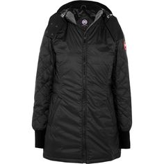 Canada Goose Stellarton quilted shell down jacket (€555) ❤ liked on Polyvore featuring outerwear, jackets, black, water resistant down jacket, down jacket, zipper jacket, slim fit jackets and shell jacket