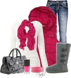 Hot pink winter outfit