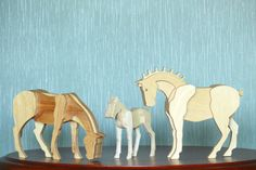 Hey, I found this really awesome Etsy listing at https://www.etsy.com/listing/387103290/set-of-wooden-horses-wooden-mare-wooden