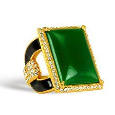 Rachel Zoe Green Quartz Square Ring