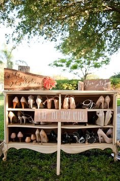 Shoe Valet from our Ariella Dresser // A Whimsical & Romantic Garden Wedding Rentals: WISH Vintage Rentals // Floral Whimsical Wedding, Rustic Wedding, Our Wedding, Dream Wedding, Wedding Flip Flops For Guests, Wedding Shot, Wedding Signs, Davis Island, Wedding Wishes