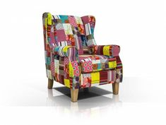 WILMA Ohrensessel, Material Stoff, Eichefarbig/Patchwork Diy Zimmer, Armchair, Material, Furniture, Home Decor, Products, Ebay, Scrappy Quilts, Closet Ideas