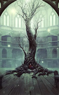 Cover Art for Neverland's Library Anthology - By: Gabriel Verdon (I have linked the image to the artists website) #magic #tree
