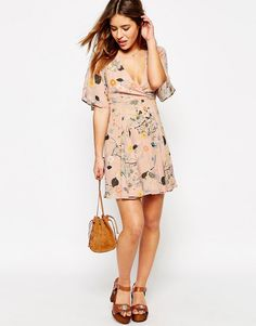 Image 4 of ASOS PETITE Skater Dress in Watercolour Floral