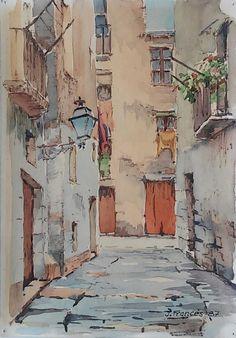 carrer Montanyans (Ciutat Vella) Barcelona | watercolor | Joaquim Francés