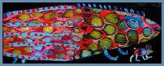 Elke Trittel acrylic/collage on board 20x50cm