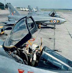 English Electric Lightning F 6 fighters of No 11 Squadron prepare for take-off at RAF Leuchars in Fife. Military Jets, Military Aircraft, Fighter Aircraft, Fighter Jets, Lightning Photos, Photo Avion, War Jet, Aviation Image, Jet Plane