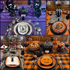 Four Halloween Tablescape Ideas — Whispers of the Heart Up Halloween, Halloween Themes, Buffalo Check Tablecloth, Good Color Combinations, Flying Witch, Pumpkin Centerpieces, Orange Design, Plate Design, How To Distress Wood