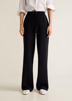 Mango Flowy Straight-Fit Trousers - Black S Trousers Women, Pants For Women, Mango, Schoolgirl Style, Flowy Pants, School Looks, Crepe Fabric, Latest Outfits, Autumn Fashion