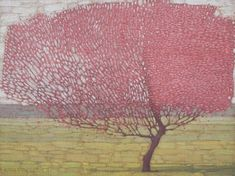 """""""Blossoming Spring Tree"""" by David Grossmann Landscape Drawings, Abstract Landscape, Landscape Paintings, Tree Paintings, Mountain Paintings, Plant Illustration, Art Themes, Spring Tree, Illustrations And Posters"""