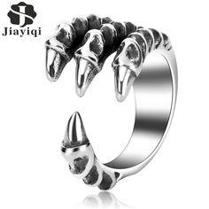 Jiayiqi Punk Men Ring 316L Stainless Steel Ring For Men Jewelry Dragon Claw Ring  Cool Vintage Biker Ring Men Gift #Affiliate