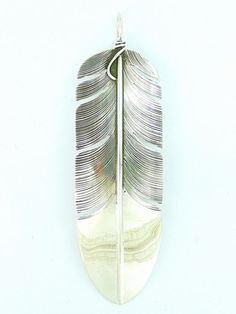 Large Sterling Silver Feather Pendant by Lena Platero, Navajo for $117 | Native American Jewelry