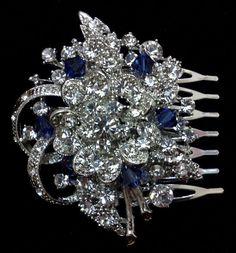 Something Blue Wedding Haircomb Flower Bridal Hair by YJDesign, $67.00