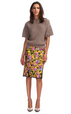 Nina Ricci Floral Printed Satin Skirt $1190
